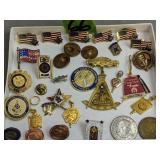 Masonic Pins, Pin Back, Beaver College Pendant,