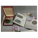 Andre Rivalle 17 Jewel Liberty Bell Pocket Watch,