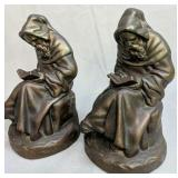 Bronzed Finish Monks Man Reading Bookends