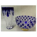 Faberge Cobalt Blue Vase & Russian Court Bowl