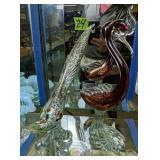 Pair Of Murano Style Art Glass Bird Figurines