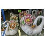 Capodimonte Swans. Light Damage To Flowers As