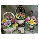 Capodimonte Baskets With Flowers. Light Damage T