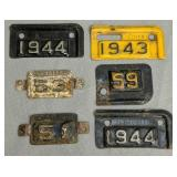 License Plate Tag Inserts. 1943, 44, 51, 53, 59