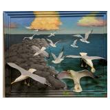 """51"""" Fred Beebe 3d Relief Seagull Painting Wall Art"""