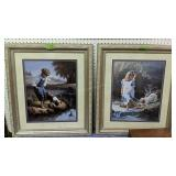 Pair Of Home Interiors Children Playing Prints