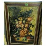 Early Oil On Canvas Still Life Painting Signed