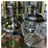 Sterling Weighted Candle Holders, Sterling Lid