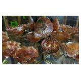 Shelf Lot Marigold Carnival Glass