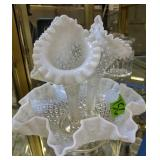 Three Horn Opalescent Glass Epergne