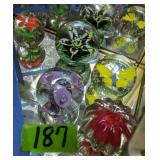 5 Paper Weights. Flowers, Butterfly Etc