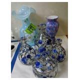 Opalescent Glass Vase, Art Glass Vase, Enamel