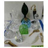Perfume Bottles, Malachite Glass Etc