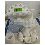 Milk Glass Compote, Bell Etc