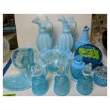 Blue Hobnail Opalescent Vases, Bowls Etc