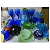 Cobalt Blue Glass Plates, Glasses, Moon And Star