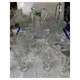 Cut Glass Pitchers, Basket, Candle Holders Etc