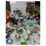 Oriental Pitcher With Cups, Teapots, Platter Etc