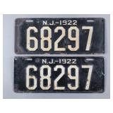 1922 New Jersey License Plates
