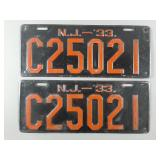 1933 New Jersey License Plates