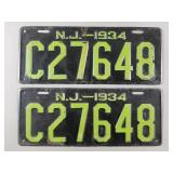 1934 New Jersey License Plates