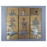 6pc Antique Botany Worsted Mills Garment Overlays