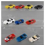 10pc Tyco HO Slot Cars w/ Chassis