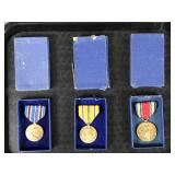 3pc US WWII Medals in Box w/ Victory Medal