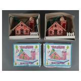 3pc Vtg Yuletide Santa Chimney House in Box
