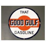 Vtg Good Gulf Enameled Metal Gas Pump Sign