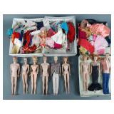 2 Cases Vtg Barbie Skipper & Ken Dolls & Clothes