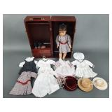 American Girl Doll in Trunk w/ Clothes