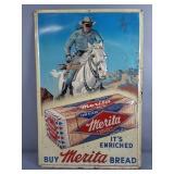 Vtg Merita Lone Ranger Tin Embossed Sign