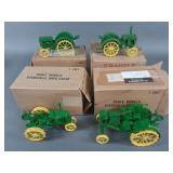 4pc Scale Models John Deere Tractors w/ Boxes