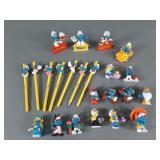 23pc Vtg Smurf PVC Figures & Pencils