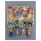 12pc Vtg WWF, WCW & AWA Wrestler Figures