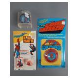 3pc Vtg Spiderman Collectibles NIP w/ Rack Toys