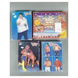 4pc Vtg WWF Wrestling Puzzles & Colorforms Set
