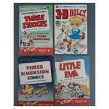 4pc Golden Age 3D Comic Books w/ Stooges