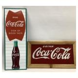 (2) Embossed Metal Coca Cola Signs