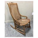 Vintage Wood Rocker W/Wicker back & Seat