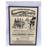 Framed Marine Recruitment Poster 18 x 25