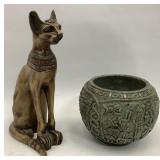 11 in Egyptian Cat & 6 in South American Bowl