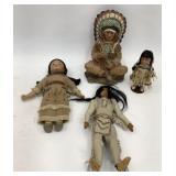 Native Dolls & 9 in Plastic Chief