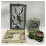 Stained Glass, Clock, Shadow box & flower truck