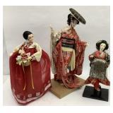 3 Oriental Dolls, tallest is 25 in