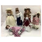 6 Porcelain Dolls