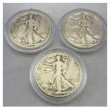 (3) Walking Liberty Silver Half Dollars