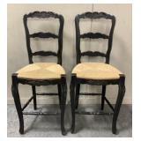 Pair of Wood High back Bar Chairs