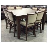 Bar Height Drop Leaf Table & 8 Chairs